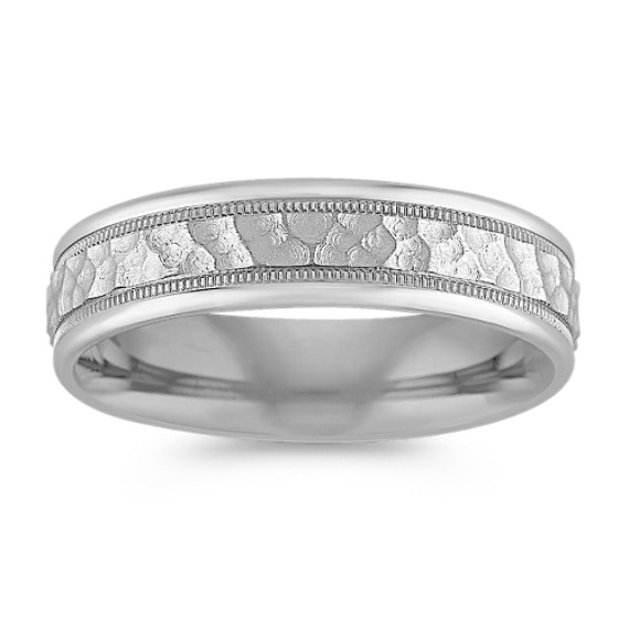 Platinum Comfort Fit Ring with Hammered Finish (6mm)