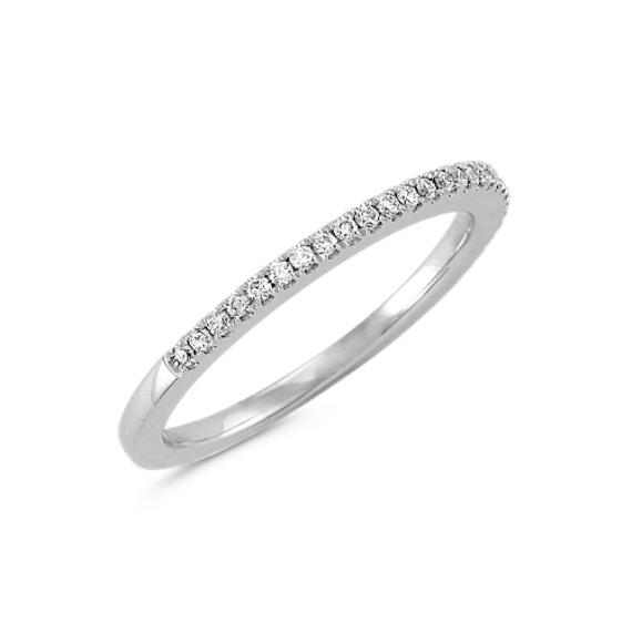 Platinum Diamond Wedding Band with Pavé Setting