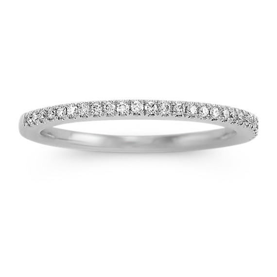Platinum Diamond Wedding Band with Pavé Setting