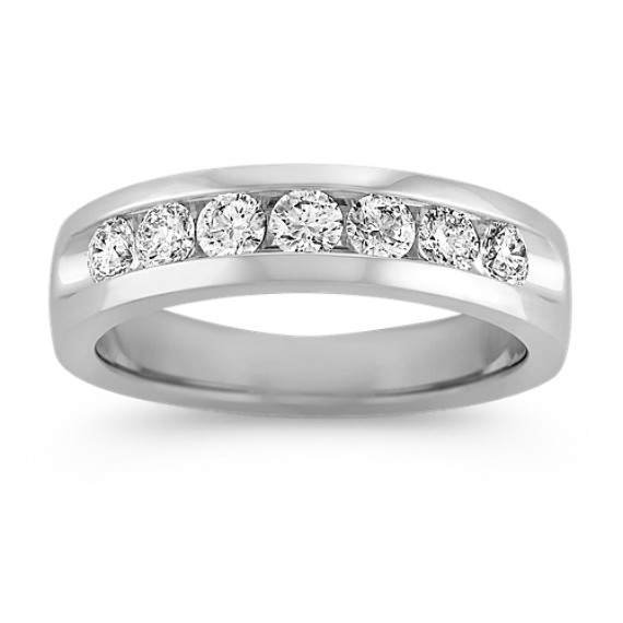 Platinum Seven-Stone Diamond Ring with Channel-Setting