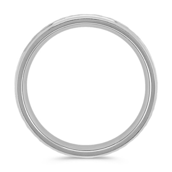Polished and Hammered Comfort Fit Titanium Ring (7mm)