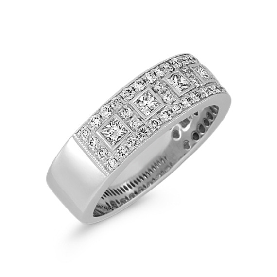 Princess Cut and Round Diamond Anniversary Band