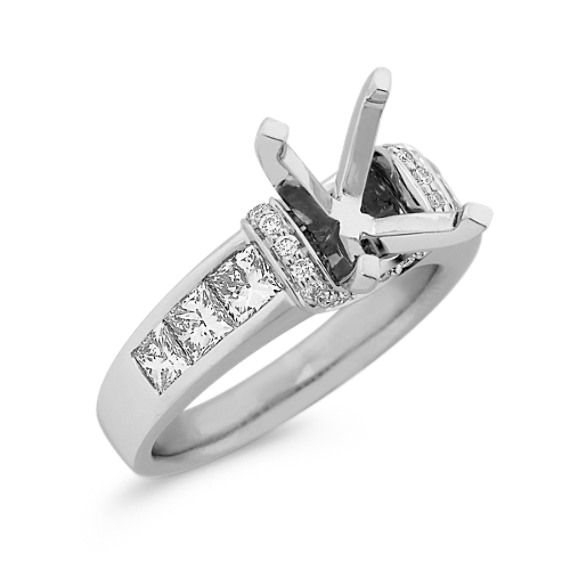 Princess Cut and Round Diamond Engagement Ring