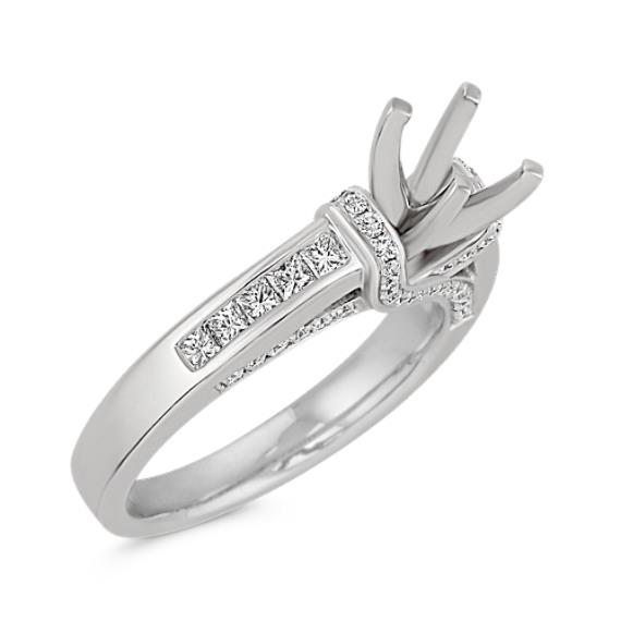 Princess Cut and Round Diamond Platinum Engagement Ring