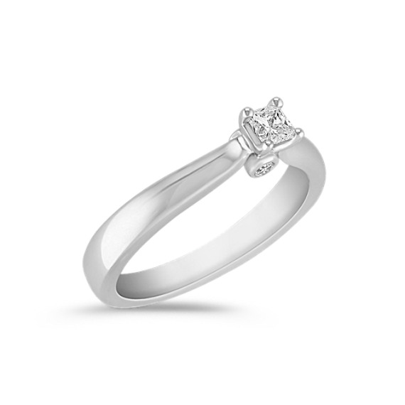Princess Cut and Round Diamond Ring in Sterling Silver