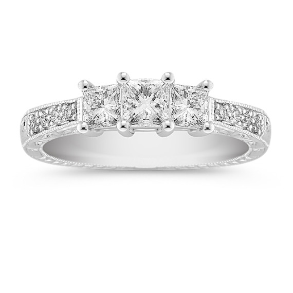 Princess Cut and Round Diamond Three-Stone Anniversary Band
