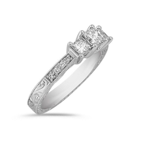 Princess Cut and Round Diamond Three-Stone Ring