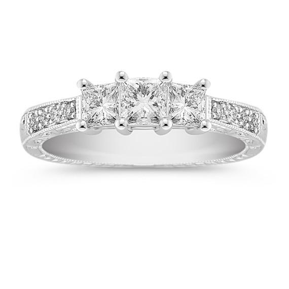 Princess Cut and Round Diamond Three-Stone Ring