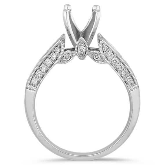 Princess Cut and Side Accent Round Diamond Engagement Ring