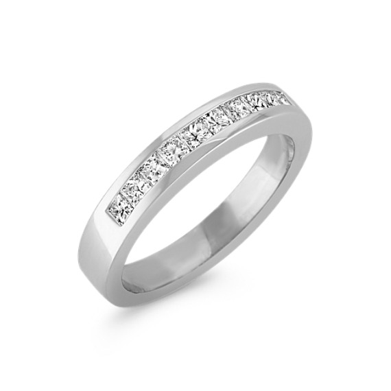 Princess Cut Channel Set Diamond Wedding Band in Platinum