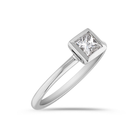 Princess Cut Diamond Engagement Ring in Bezel Setting
