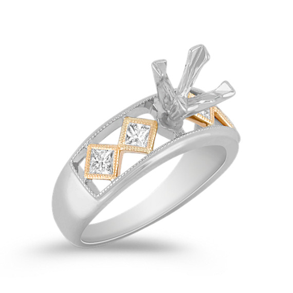 Princess Cut Diamond Engagement Ring in Two-Tone Gold with Bezel Setting