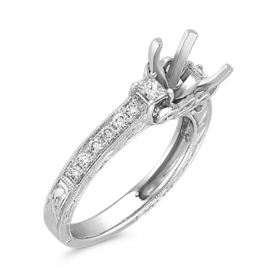 Princess Cut Diamond Engagement Ring with Pavé Setting