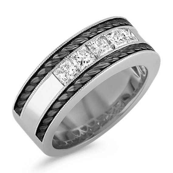 Princess Cut Diamond Men's Ring with Black Rhodium (9mm)