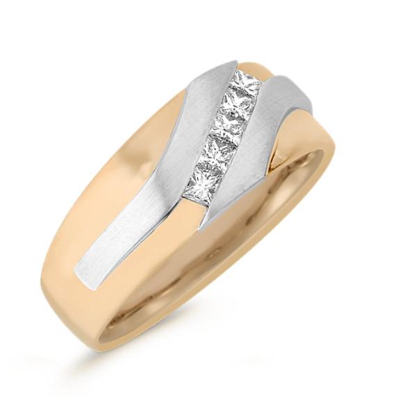 Princess Cut Diamond Ring in Two-Tone Gold