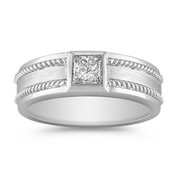 Princess Cut Diamond Ring with Bezel Setting