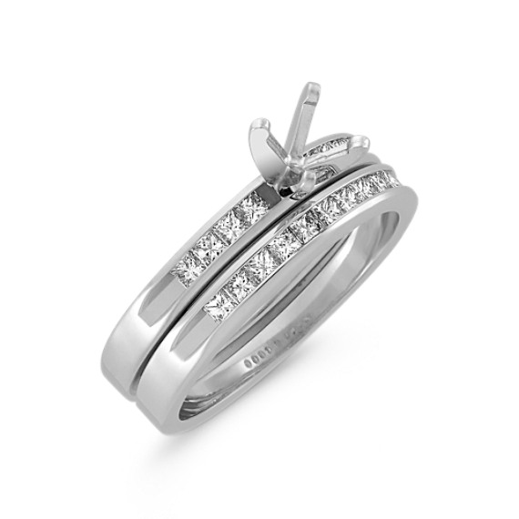 Princess Cut Diamond Wedding Set with Channel-Setting