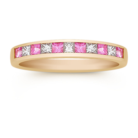 Princess Cut Pink Sapphire and Diamond Anniversary Band