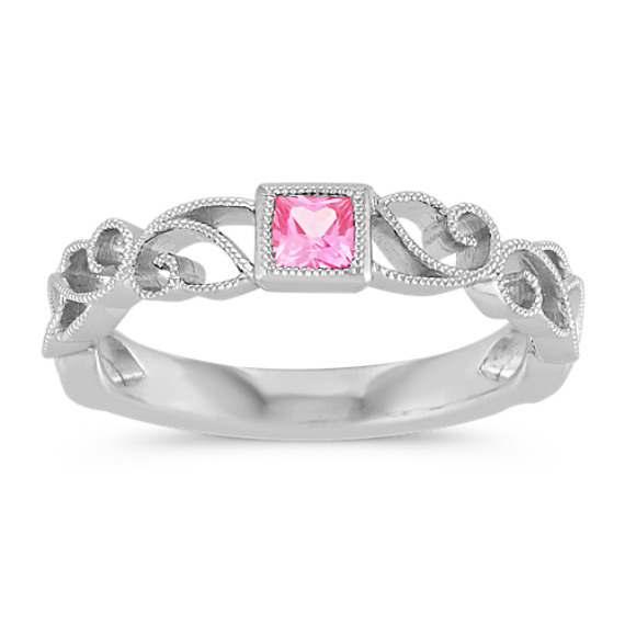 Princess Cut Pink Sapphire Stackable Ring