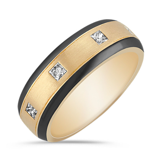 Princess Cut Ring with Black Rhodium in 14k Yellow Gold (7mm)