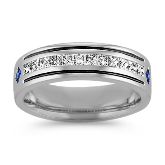 Princess Cut Sapphire and Diamond Ring with Bezel and Channel Setting