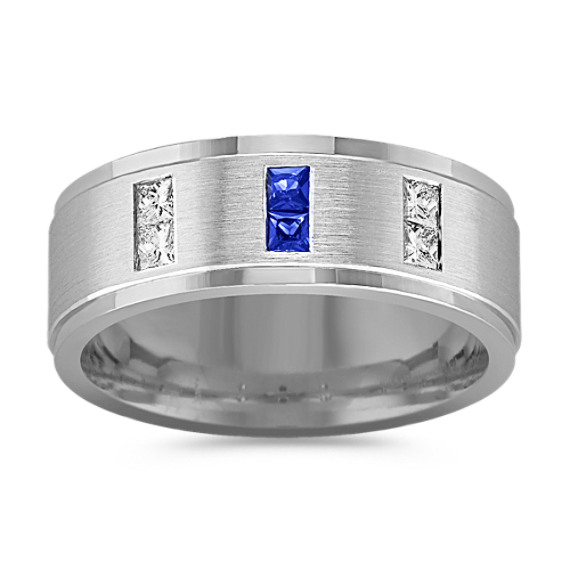 Princess Cut Sapphire and Diamond Ring (8mm)