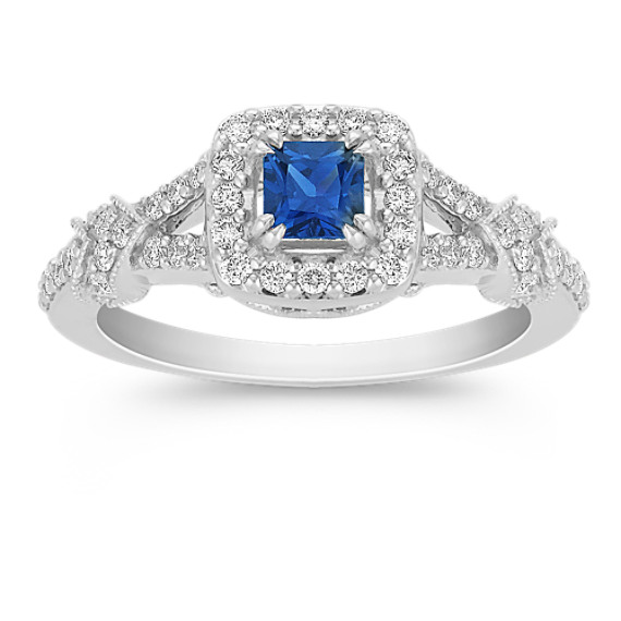 Princess Cut Sapphire and Round Diamond Ring