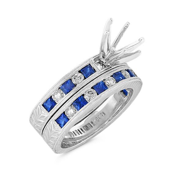 Princess Cut Sapphire and Round Diamond Wedding Set
