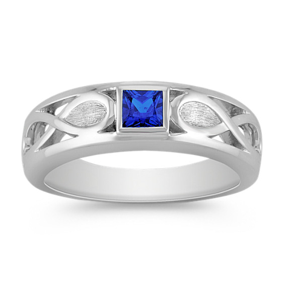 Princess Cut Sapphire Ring with Bezel Setting (7mm)
