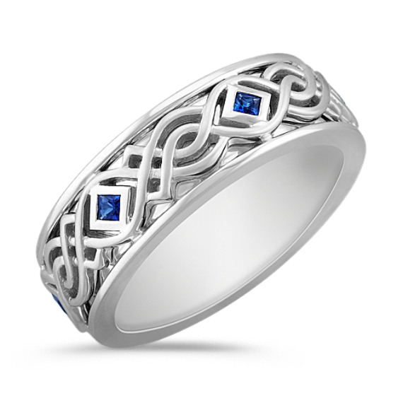 Princess Cut Sapphire Tribal Engraved Men's Ring (8mm)