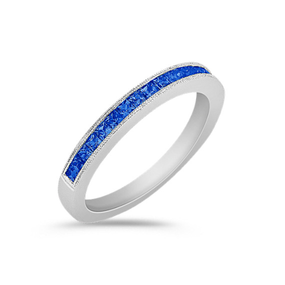 Princess Cut Sapphire Wedding Band
