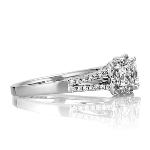 Princess Cut Three-Stone and Round Diamond Ring with Split Shank
