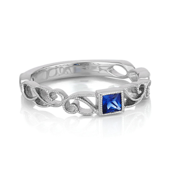 princess cut traditional blue sapphire stackable ring at