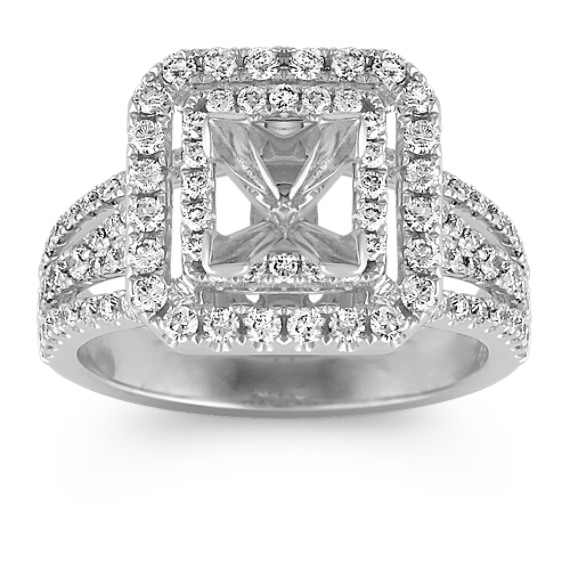 Princess Double Halo Diamond Engagement Ring