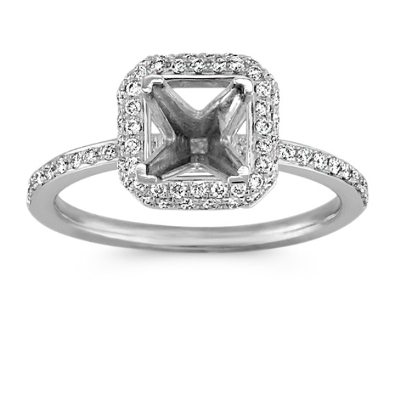 Princess Halo Engagement Ring with Pavé-Setting