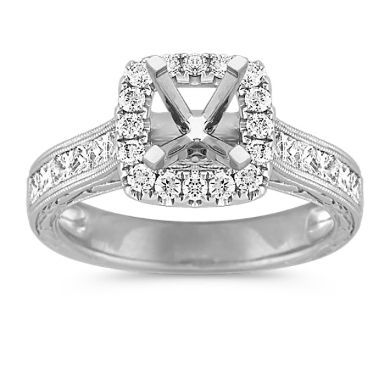 Princess Halo Engagement Ring with Princess Cut and Round Diamonds