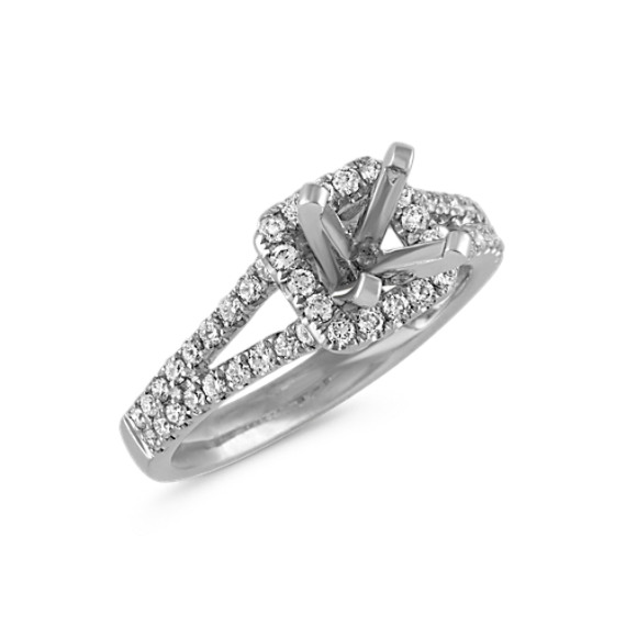 Princess Halo Split Shank Diamond Engagement Ring