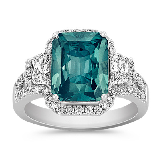Radiant Cut Blue Green Sapphire, Trapezoid and Round Diamond Ring