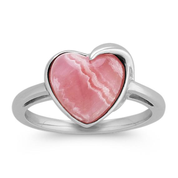 Rhodochrosite Heart Ring in Sterling Silver