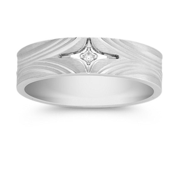 Ripple Detailed and Bezel Set Round Diamond Ring