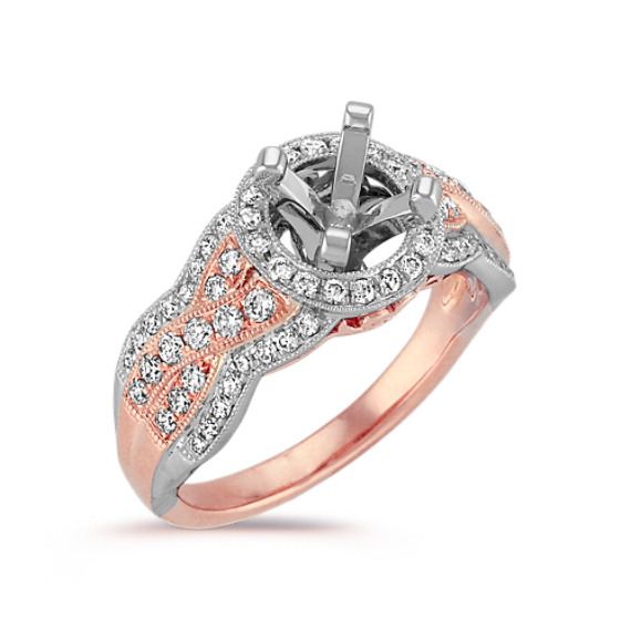 Rose and White Gold Halo Braided Infinity Diamond Engagement Ring