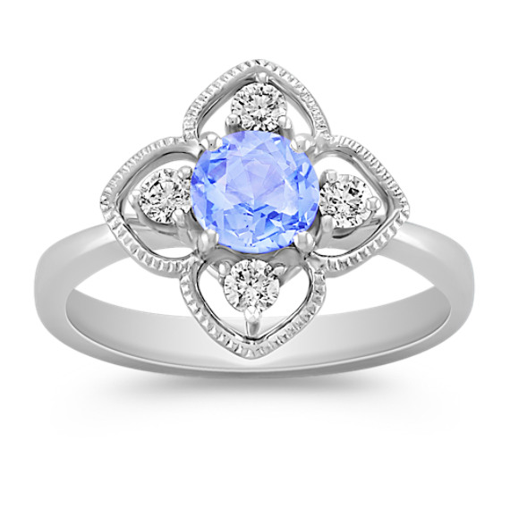 Rose Cut Round Ice Blue Sapphire and Diamond Ring
