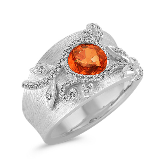 Rose Cut Round Orange Sapphire and Diamond Ring
