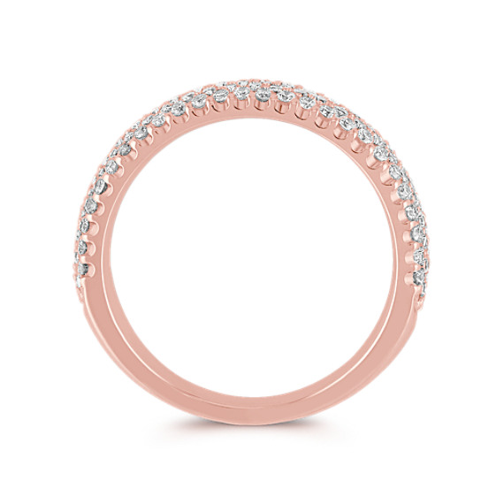 Rose Gold Round Diamond Wedding Band with Pavé Setting
