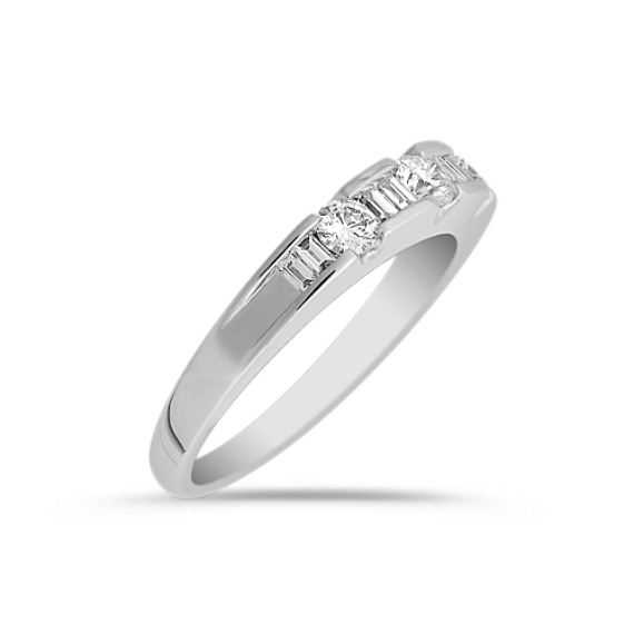 Round and Baguette Diamond Anniversary Band in Platinum