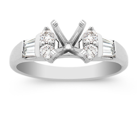 Round and Baguette Diamond Engagement Ring in Platinum