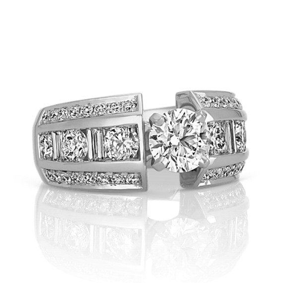 Round and Baguette Diamond Engagement Ring in White Gold