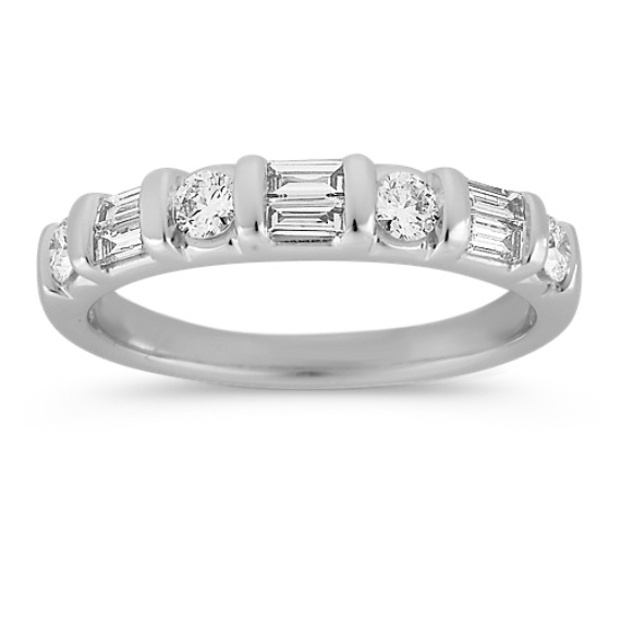 Round and Double Stacked Baguette Diamond Wedding Band