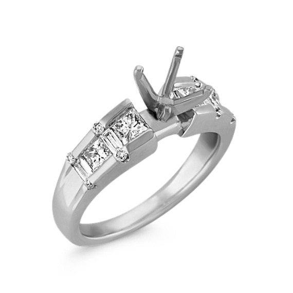 Round and Princess Cut and Baguette Diamond Engagement Ring with Channel Setting