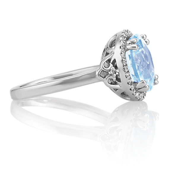 Round Aquamarine and Diamond Halo Ring in Sterling Silver